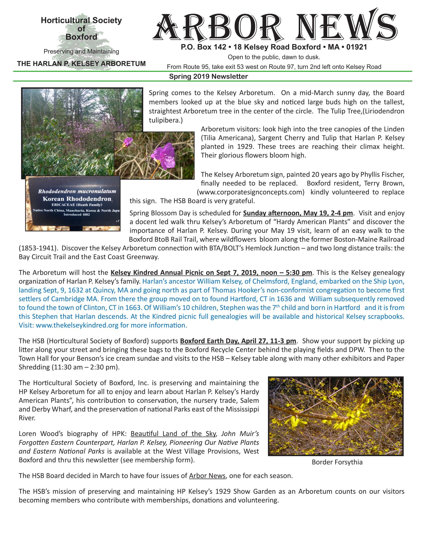 Spring 2019 Newsletter | The Kelsey Arboretum